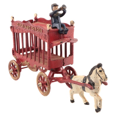 Cast Iron Cold Painted Overland Circus Wagon Horse and Rider