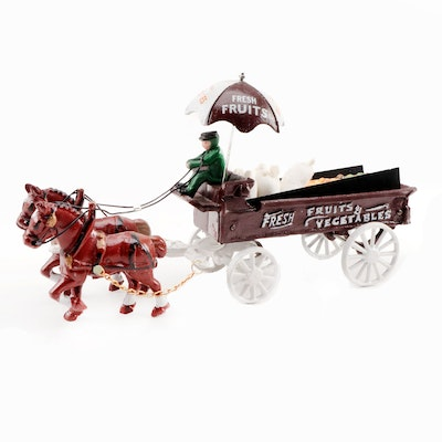 """Cast Iron Cold Painted """"Fruits and Vegetables"""" Horse Drawn Wagon/Driver Toy"""