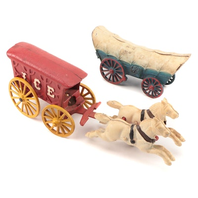 Cast Iron Cold Painted Horse Drawn Red Ice Wagon and Covered Wagon