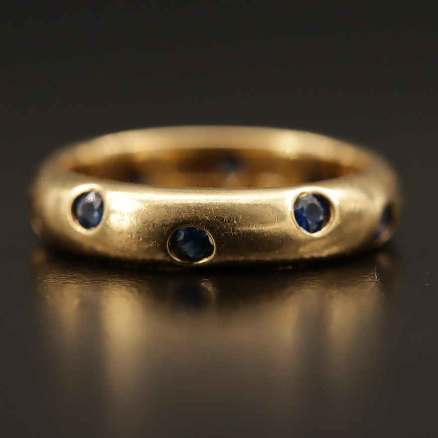Vintage Tiffany & Co. 18K Gold Blue Sapphire Band
