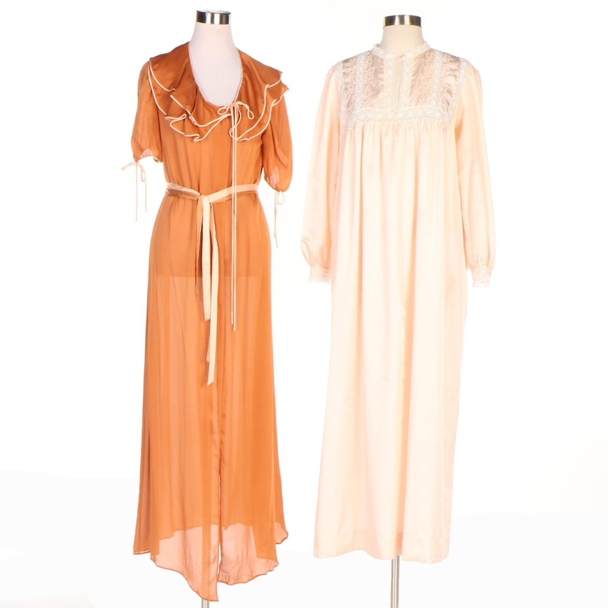 Christian Dior Lingerie Silk Robe And Nightgown 1960s 70s Vintage Ebth
