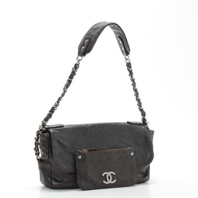 Chanel Caviar Leather City Pocket Shoulder Bag in Dark Brown