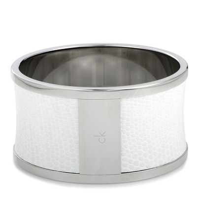 Calvin Klein Spellbound Stainless Steel and White Leather Bangle Bracelet