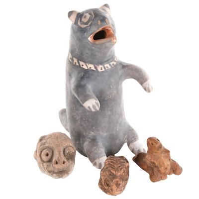 Mesoamerican Style Ceramic Colima Dog Figures, 20th Century
