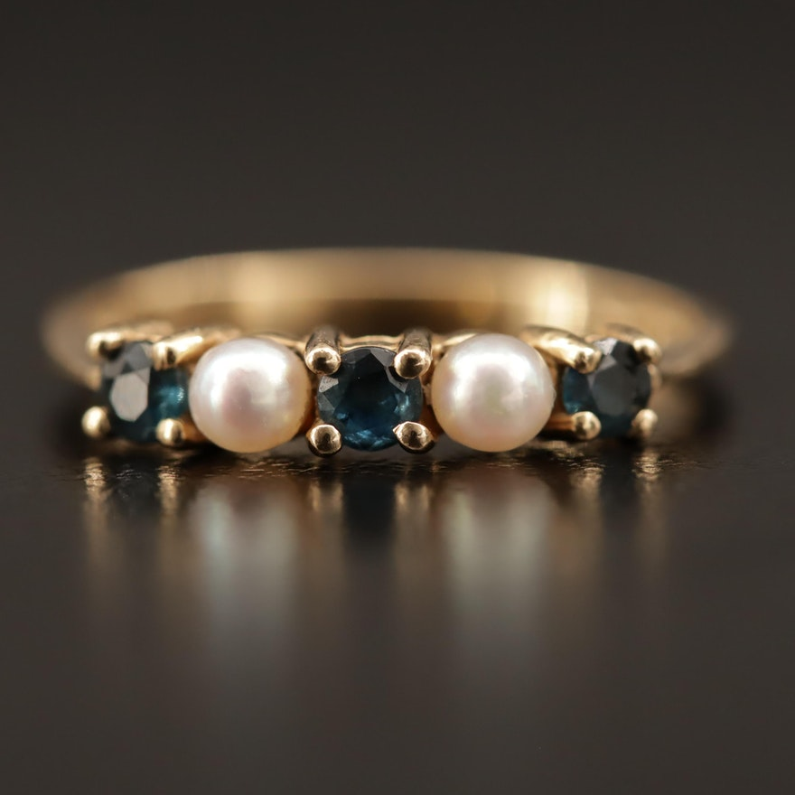 Vintage Tiffany & Co. 14K Pearl and Blue Sapphire Ring