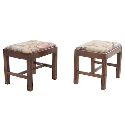 Pair of Chippendale Style Mahogany Stools with Needlework