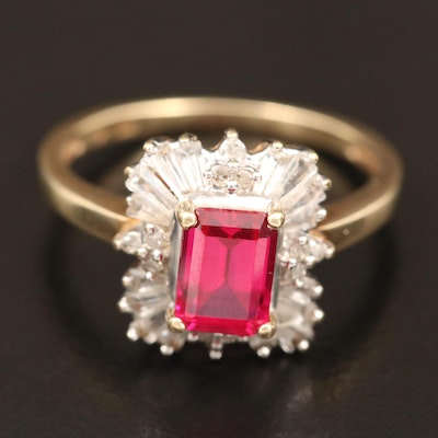 10K Ruby, White Sapphire and Diamond Ballerina Ring