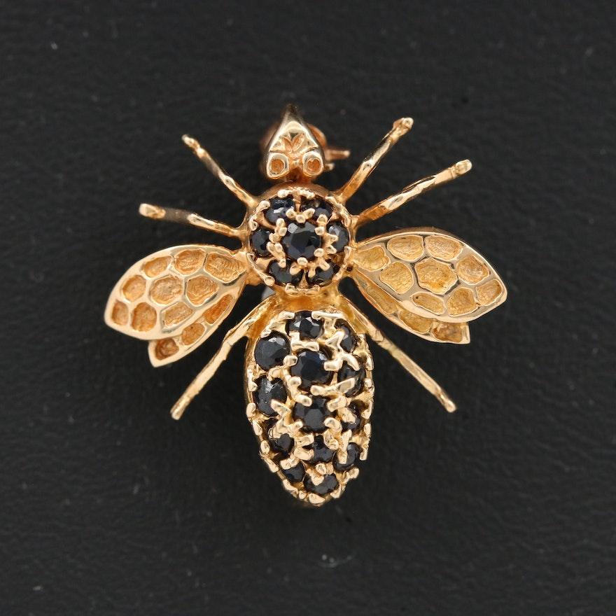 14K Sapphire Bee Brooch