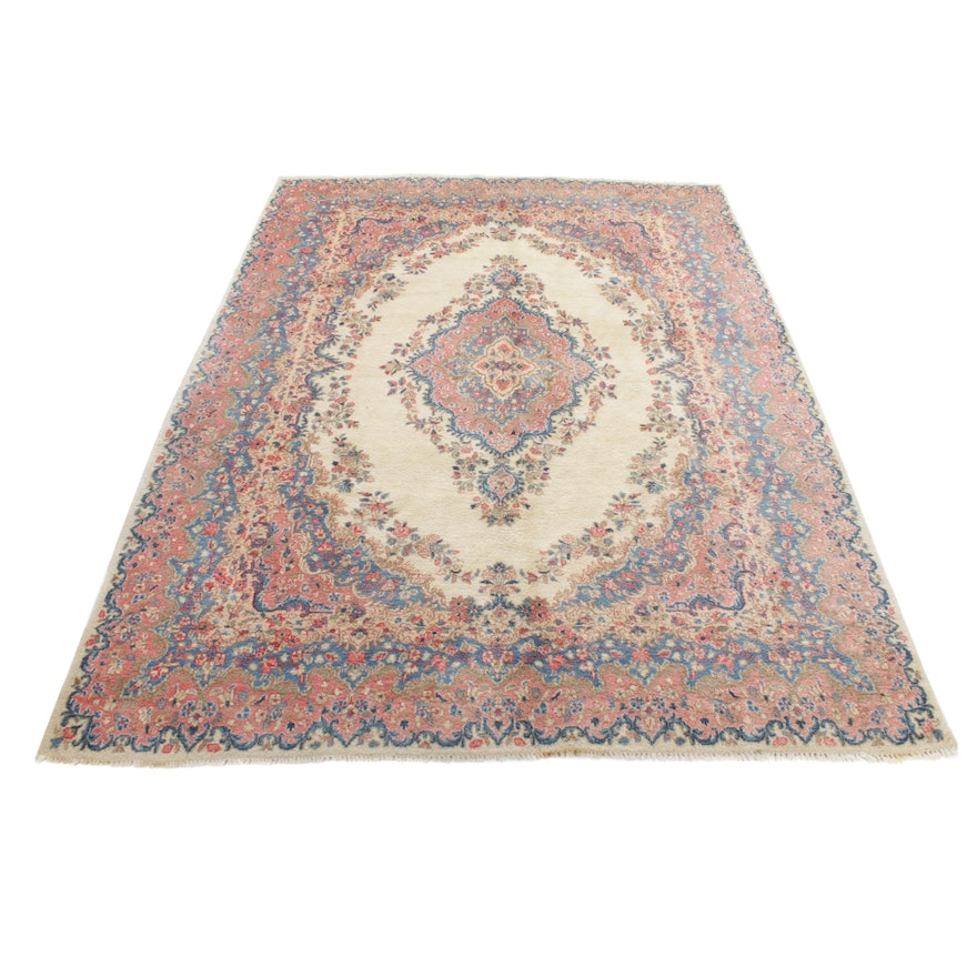 8'10 x 11'11 Hand-Knotted Persian Kazvin Room-Size Rug, 1970s