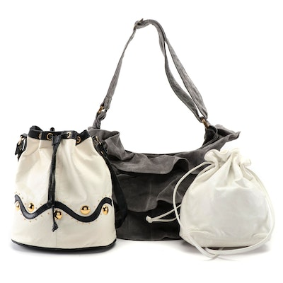 Lizden Ruffled Suede Hobo Bag with La Covina and L.J. Simone Leather Bucket Bags