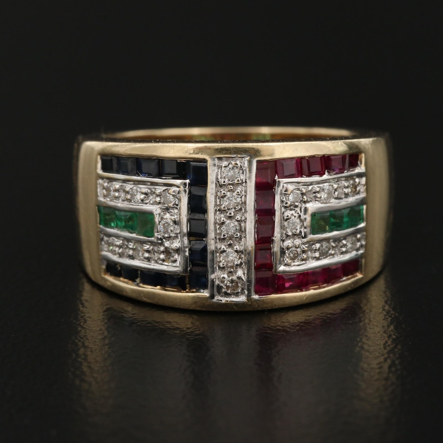 14K Ring with Diamond, Ruby, Emerald and Sapphire