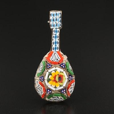 Glass Micro Mosaic Mandolin Brooch
