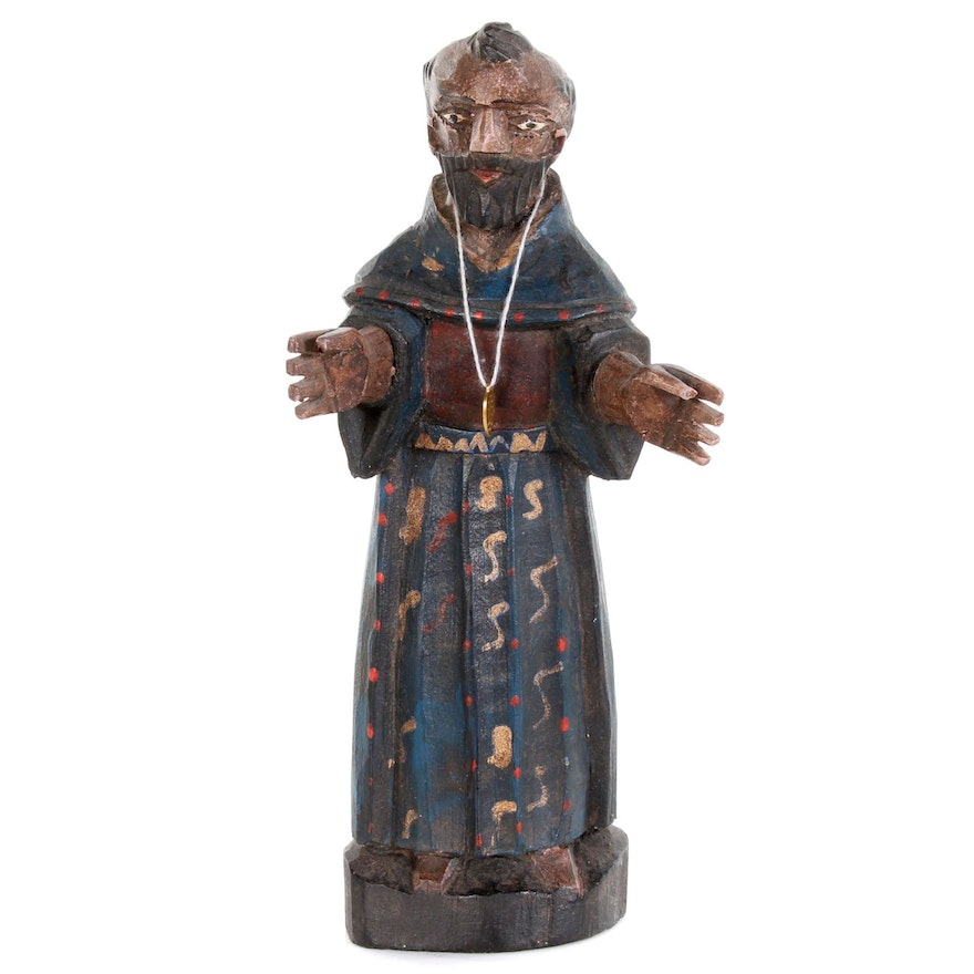 Polychrome Santos Figure Monk with Tonsure, Late 19th to Early 20th Century