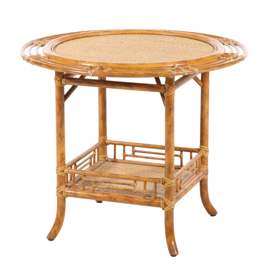 McGuire of San Francisco Round Rattan Side Table, Late 20th Century