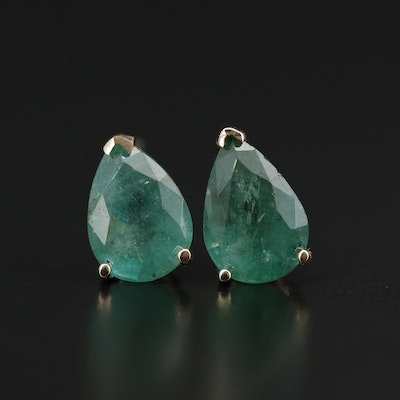 14K Gold 3.70 CTW Emerald Stud Earrings