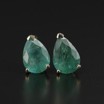 14K Gold 3.70 CTW Emerald Stud Earrings