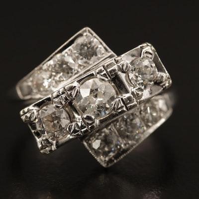 Circa 1950 14K White Gold 1.80 CTW Diamond Cluster Bypass Ring