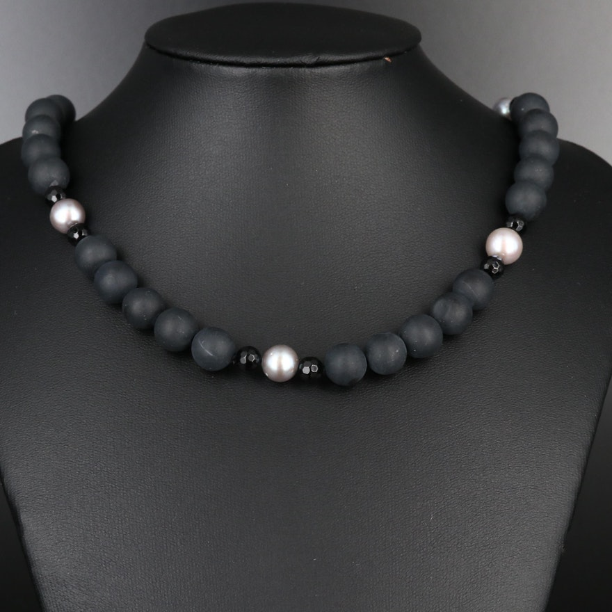 Black Onyx and Cultured Pearl Strand Necklace with Sterling Clasp