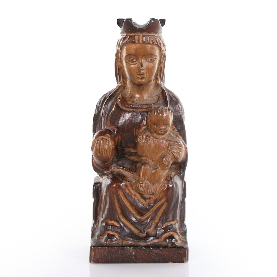 Hand-Carved Wooden Madonna and Child Sculpture, Mid-20th Century