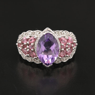 14K Amethyst, Pink Tourmaline and Diamond Ring
