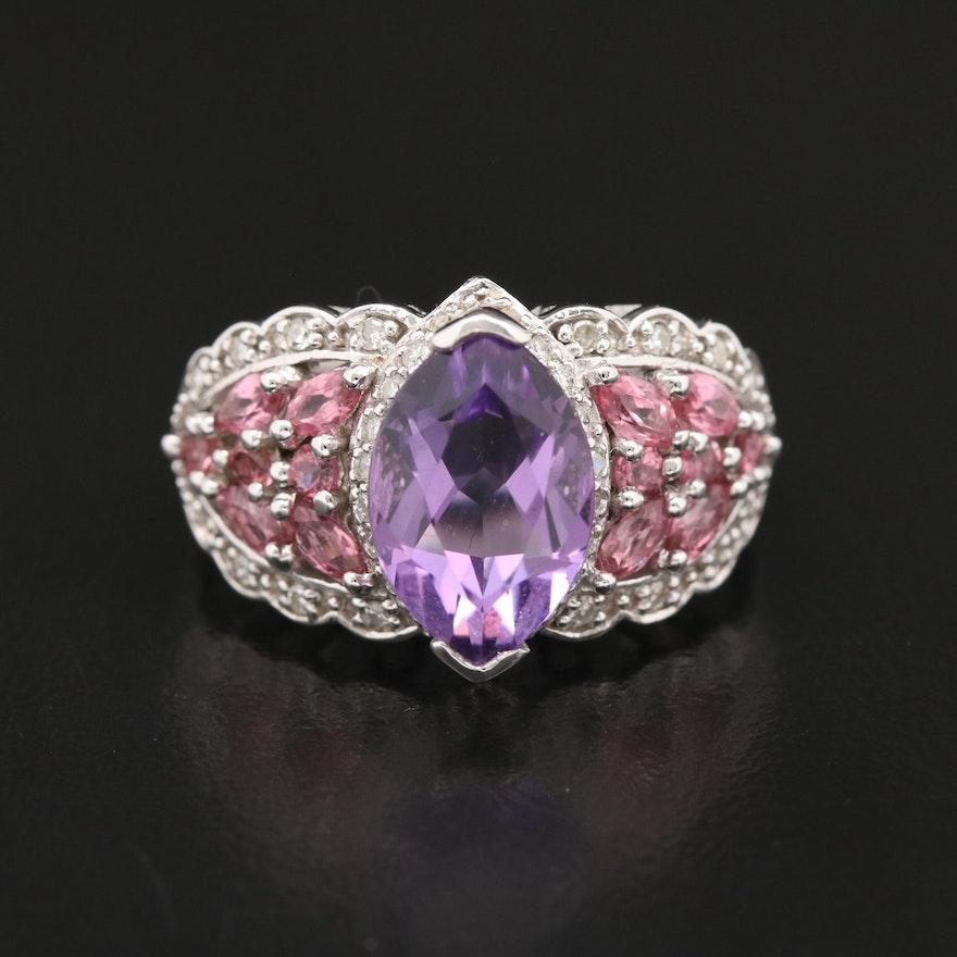 14K Amethyst, Pink Tourmaline and Diamond Ring