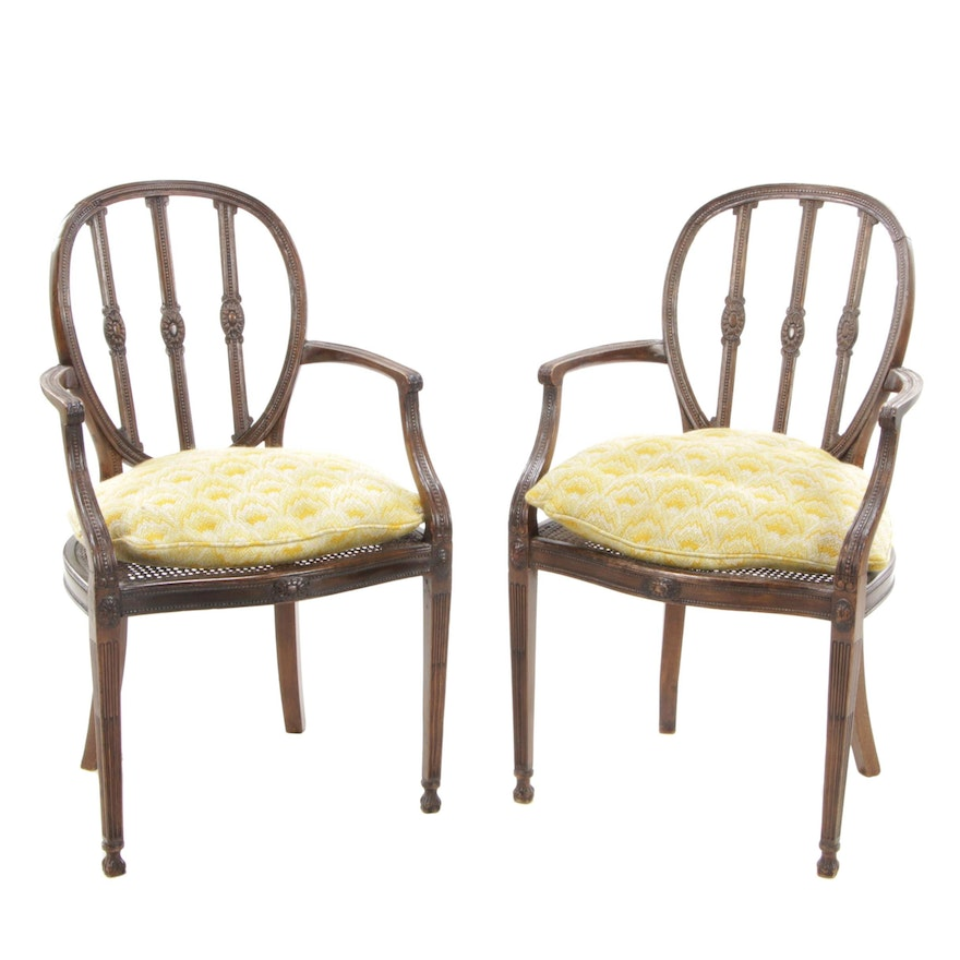 Pair of Edwardian, Adam Style Arm Chairs