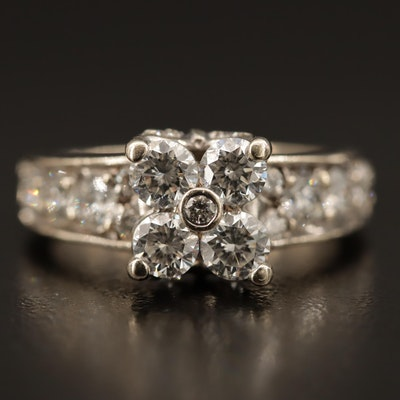 14K 2.00 CTW Diamond Cluster Ring