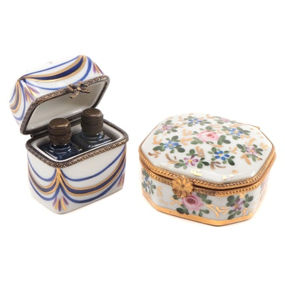 French Hand-Painted Porcelain Perfume Casket and Trinket Boxes