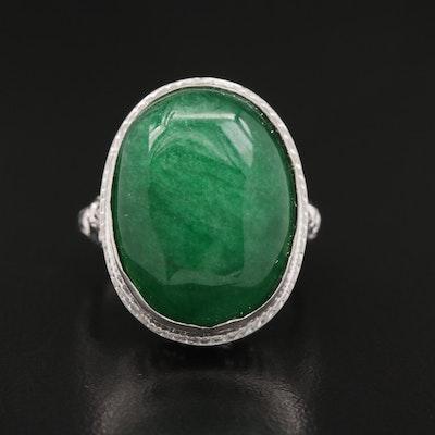 Vintage Style 18K Quartz Ring