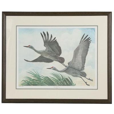 """John Ruthven Offset Lithograph """"Sand Hill Cranes"""""""