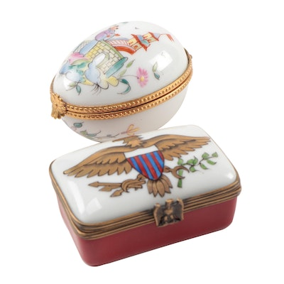 Tiffany & Co. Porcelain Egg Limoges Box and Eximious Porcelain Stamp Box