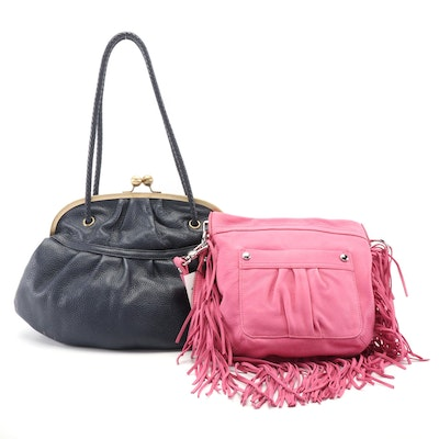 Aimee Kestenberg Pink Fringed and Maxx New York Navy Blue Leather Bags