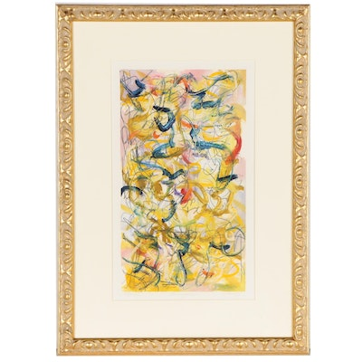"Thomas Hieronymous Towhey Abstract Oil Painting ""Lobster Lobotomy"""