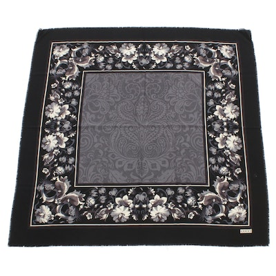 Gucci Wool Shawl with Scrolling Florals