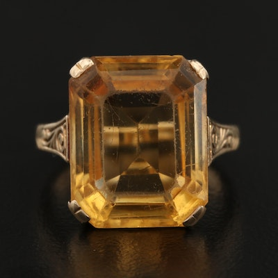 14K 12.00 CTW Faceted Citrine Ring