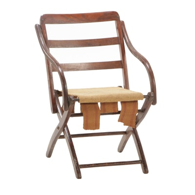 Oak Folding Chair, Early to Mid 20th Century