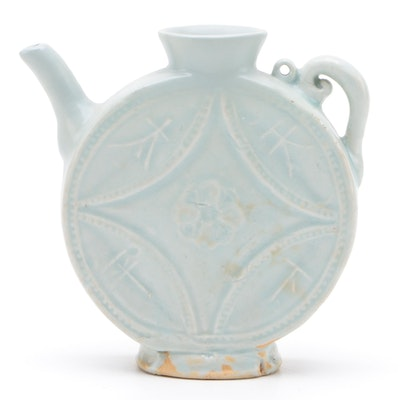 Chinese Book of Rites Ceramic Teapot Shaped Vase