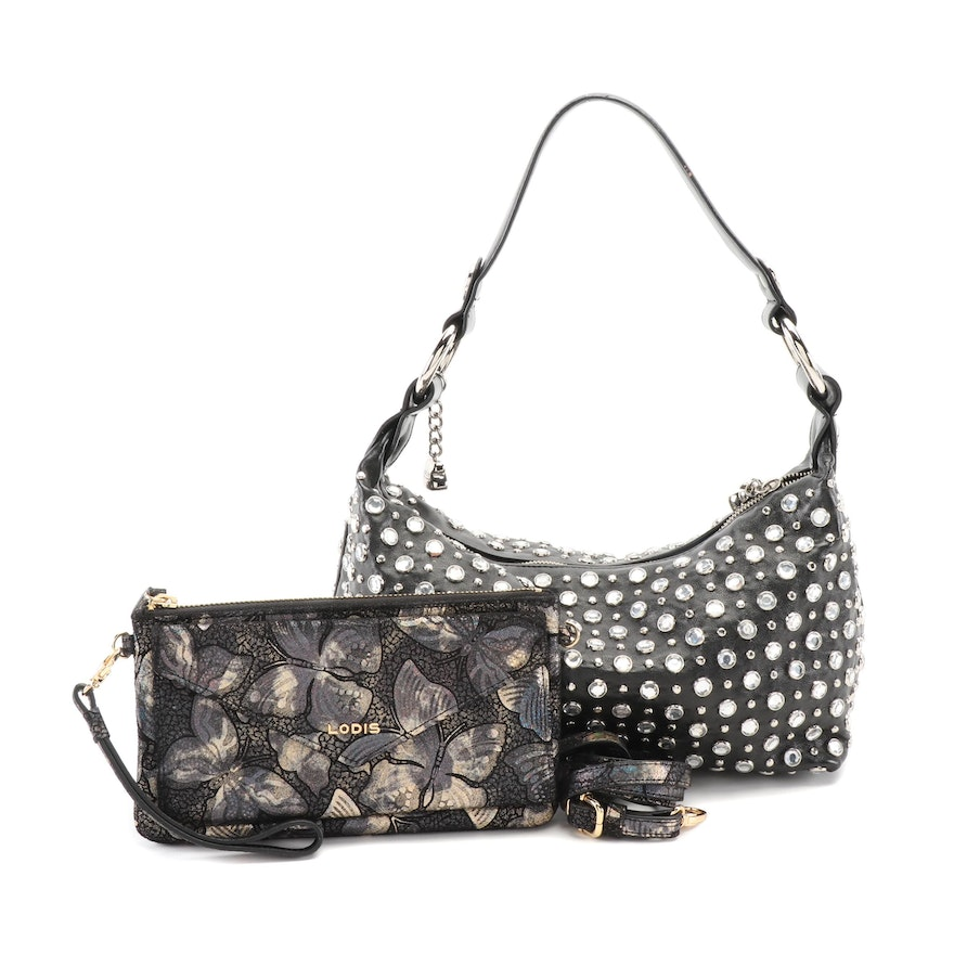 Lodis Convertible Envelope Pouch Clutch and Kathy Van Zeeland Studded Bag
