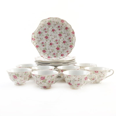 "Lefton China ""Rose Chintz"" Snack Plate and Cup Set"