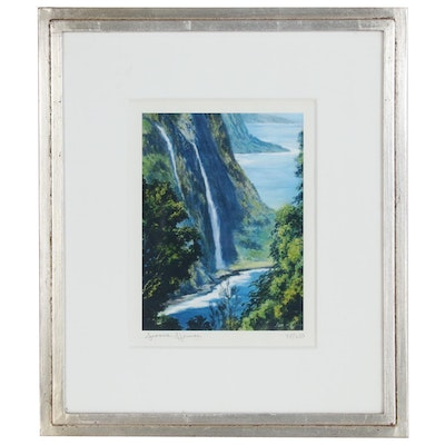 "Joanne Hennes Offset Lithograph ""Pali at Waipio"""