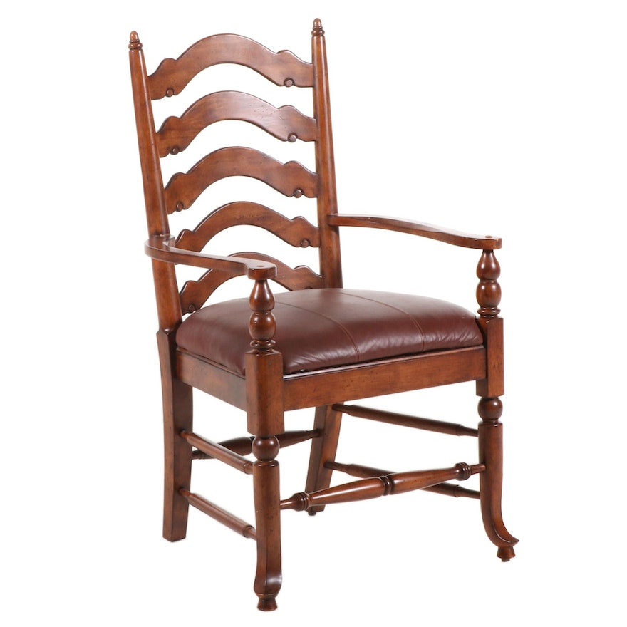 Chippendale Style Mahogany Leather upholstered Armchair, Late 20th Century
