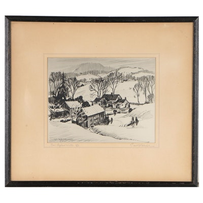 "Leo B. Blake Lithograph ""New England Winter"""