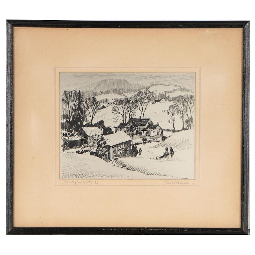 "Leo B. Blake Lithograph ""New England Winter"""