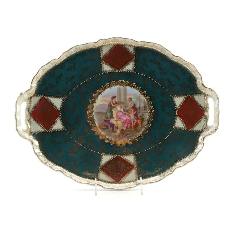 Erdmann Schlegelmilch German Classical Scene Porcelain Serving Tray