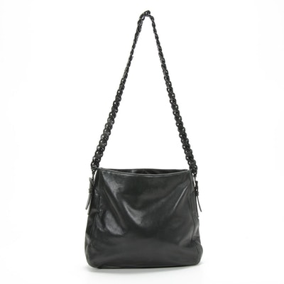 Prada Black Leather and Plastic Chain Shoulder Bag