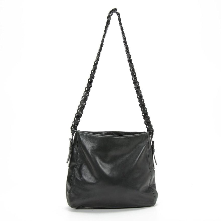 Prada Black Leather and Plastic Chain Shoulder Bag