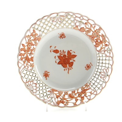 "Herend Hand-Painted ""Chinese Bouquet"" Porcelain Pierced Plate"