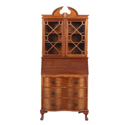 Chippendale Style Mahogany Secretary Bookcase, Mid-20th Century