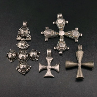 Vintage Assortment of Cross Pendants Including 800 Silver
