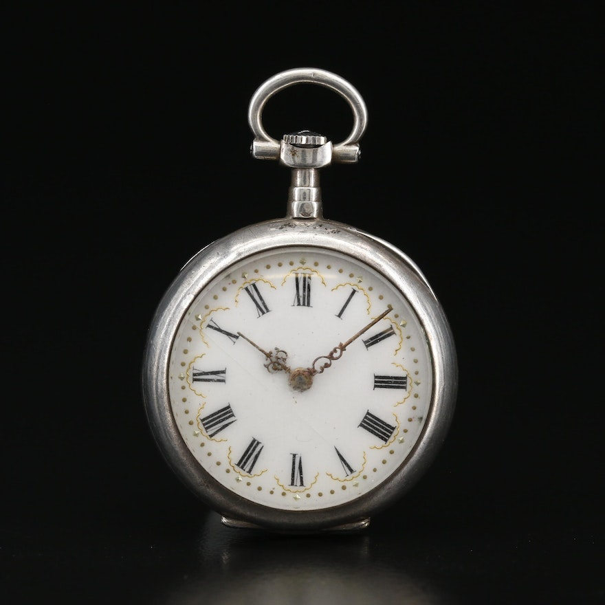 French Petite Silver Pocket Watch